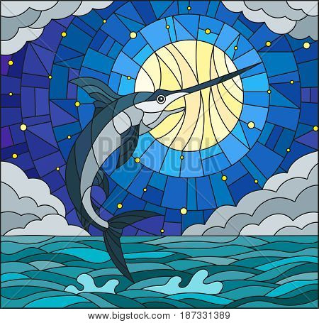 Illustration in stained glass style with a fish swordfish on the background of water cloud sky star and moon