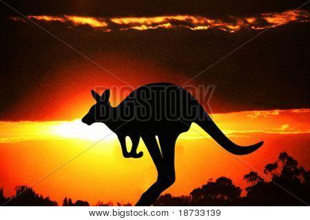 Grunge kangaroo on the sunset