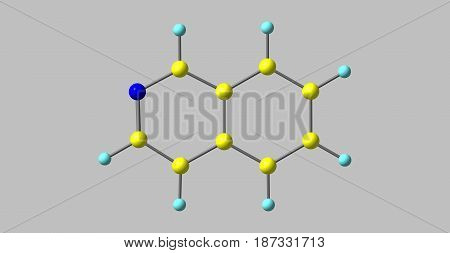 Isoquinoline is a heterocyclic aromatic organic compound. It is a structural isomer of quinoline. 3d illustration