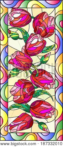 Illustration in stained glass style with tulips on light backgroundvertical orientation