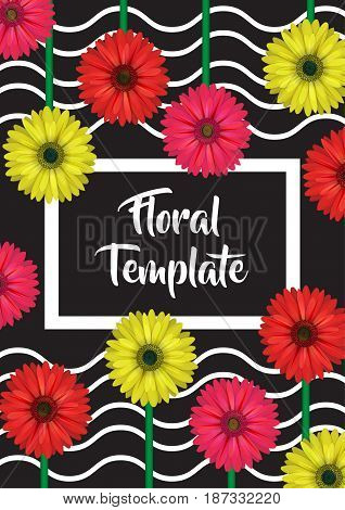 Verical banner, card, label, invitation template, floral design decoration, realistic looking gerbera daisy flowers and wavy background.