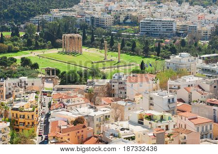 Temple of the Olympian Zeus and cityscape of Athens, Greece