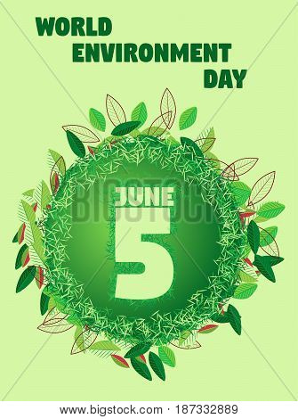 World environment day multicolor different leaves. Vector graphic multicolor different leaves arranged around a gradient circle on a pastel green background.