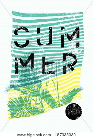 Summer Tropical Party typographic grunge vintage poster design with palm leaves. Retro vector illustration.