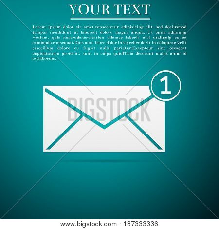 Received message concept. New, email incoming message, sms. Mail delivery service. Envelope flat icon on green background. Vector Illustration