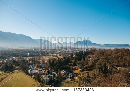 View from a high point to the historic city of Salzburg. A city in western Austria, the capital of the federal state of Salzburg. The fourth largest city in Austria. Mozart's homeland. Europe.