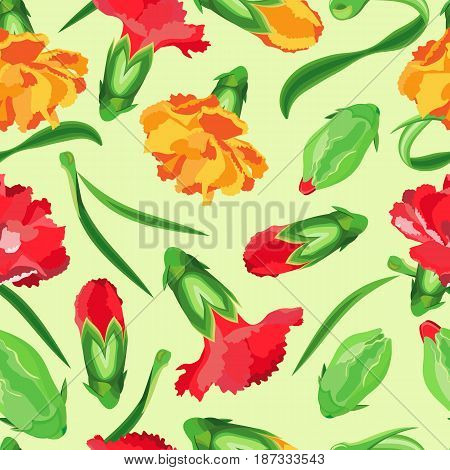 Vector seamless pattern of flowers and buds of carnations. Orange and red carnations along with leaves and buds on a pale green background.