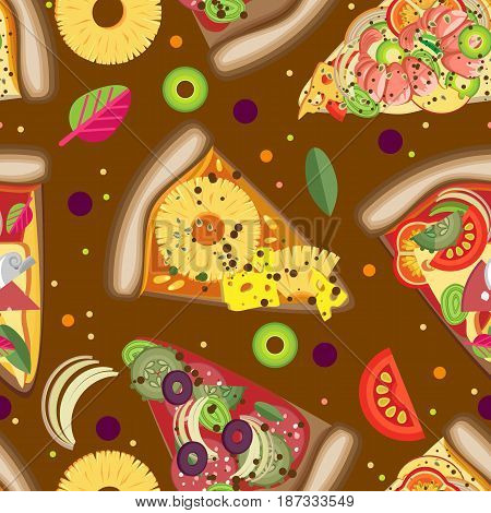 Vector seamless pattern. Pizza slices with different fillings.