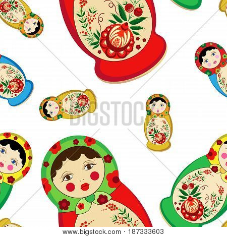 Vector pattern of nested dolls of different sizes and colors. In the style of Khokhloma. On a white background.