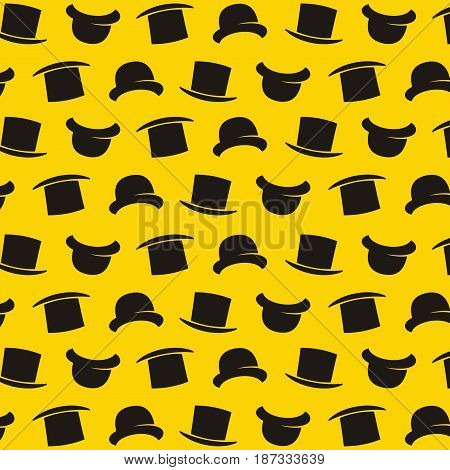 Vector gentleman pattern with bowler hat. Cartoon style illustration texture. Wallpaper. Wrapping paper. Scrapbook. Tiling. Hipster pattern. Yellow background.