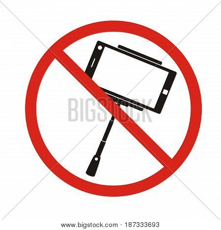 Selfie forbidden icon with no sign isolated on white. vector