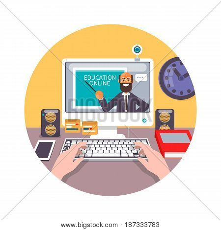 Training, education, online tutorial concept. Man out of screen monitor laptop and set icons. Flat vector illustration