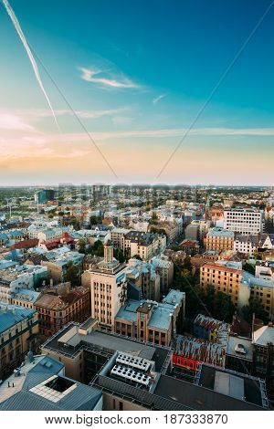 Riga, Latvia - July 2, 2016: Riga Cityscape. Top View Of Baznicas Street In Sunny Summer Evening.