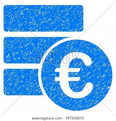 Grunge Euro Database icon with grunge design and scratched texture. Unclean vector blue pictogram for rubber seal stamp imitations and watermarks. Draft emblem symbol.