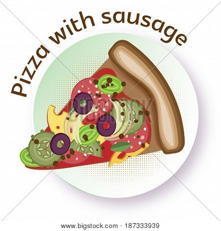 Pizza with sausage. Vector image of a triangular slice of pizza on a round plate. White background.