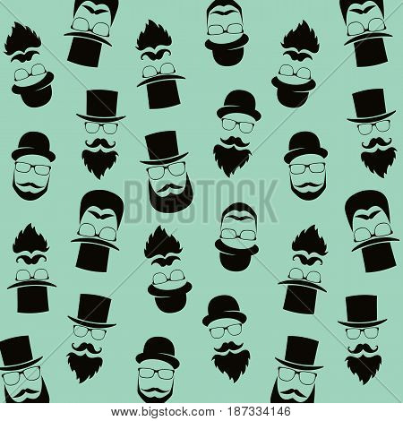 Bearded hipster pattern with glasses moustaches hat. Gentleman background.