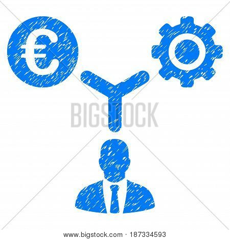Grunge Euro Financial Development icon with grunge design and dust texture. Unclean vector blue pictogram for rubber seal stamp imitations and watermarks. Draft emblem symbol.