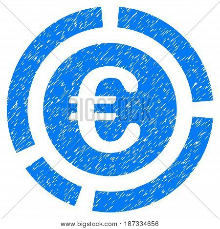 Grunge Euro Financial Diagram icon with grunge design and dust texture. Unclean vector blue pictogram for rubber seal stamp imitations and watermarks. Draft emblem symbol.