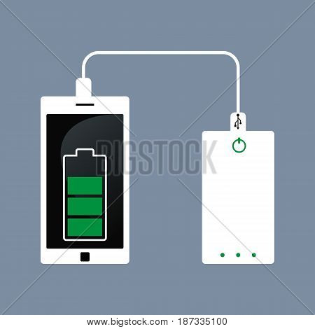 Flat isometric Smartphone USB cable connection with external power bank vector illustration.