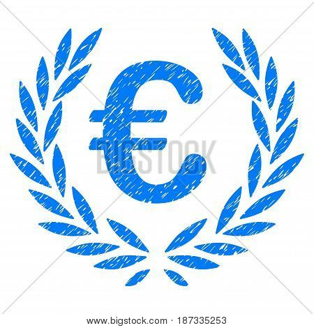 Grunge Euro Laurel Wreath icon with grunge design and dirty texture. Unclean vector blue pictogram for rubber seal stamp imitations and watermarks. Draft sign symbol.