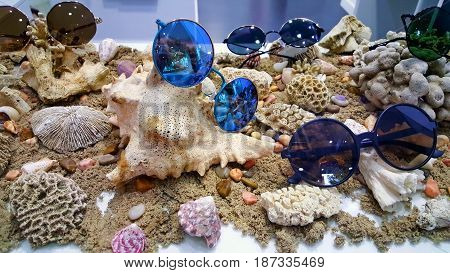 Showcase with sun glasses on a marine background