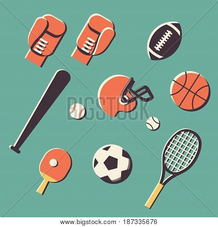 Vector flat illustration, icon set of sport: tennis, kerning, boxing, rugby, football basketball baseball ping pong