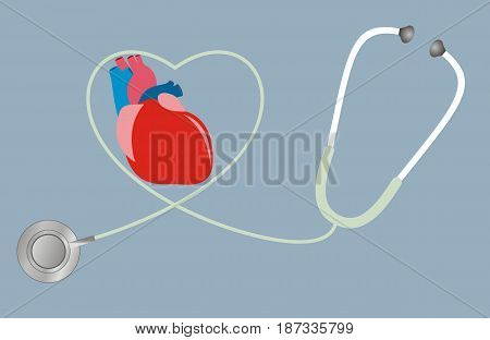 A concept for health of heart. stethoscope in shape of heart. Vector