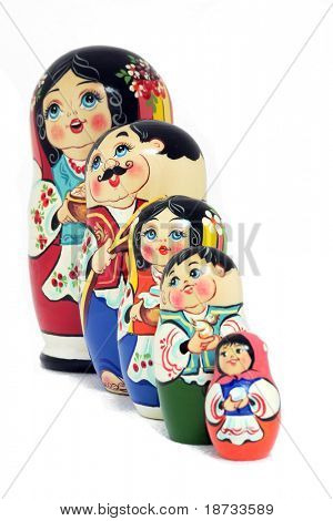 Russian nested dolls family - isolated