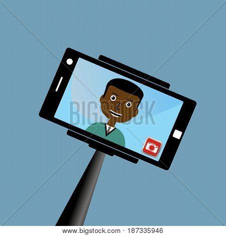 Monopod Selfie man. Self Portrait Tool For Smartphone. Vector Illustration