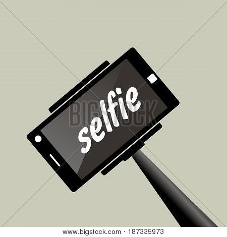 Selfie stick. Portrait photograph with digital camera or smart phone vector