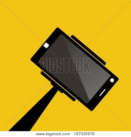Selfie Stick With Mobile Phone Flat Icon On yellow Background. vector