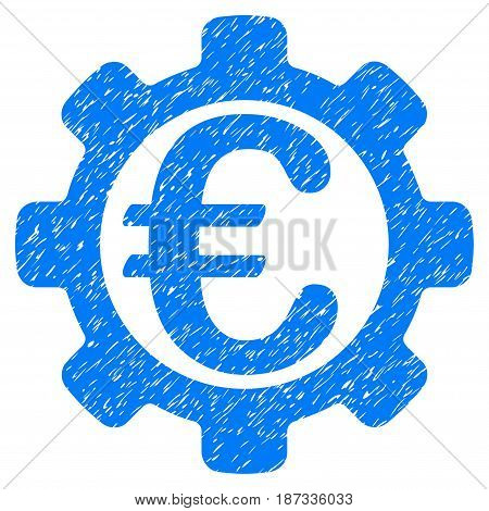 Grunge Euro Payment Options icon with grunge design and scratched texture. Unclean vector blue pictogram for rubber seal stamp imitations and watermarks. Draft sign symbol.