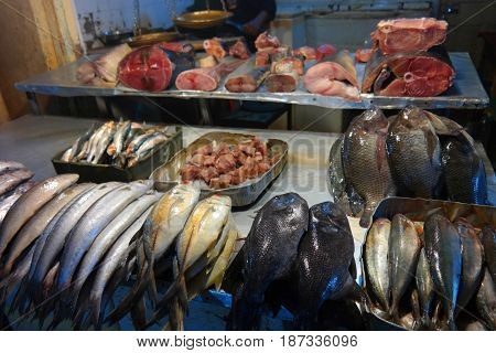fish market at negombo srilanka downtown selling all kinds of exotic fish