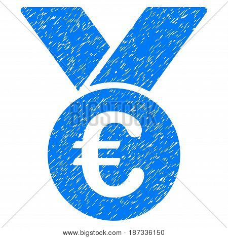 Grunge Euro Prize Medal icon with grunge design and dust texture. Unclean vector blue pictogram for rubber seal stamp imitations and watermarks. Draft sign symbol.