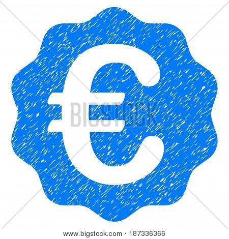 Grunge Euro Reward Seal icon with grunge design and unclean texture. Unclean vector blue pictogram for rubber seal stamp imitations and watermarks. Draft emblem symbol.