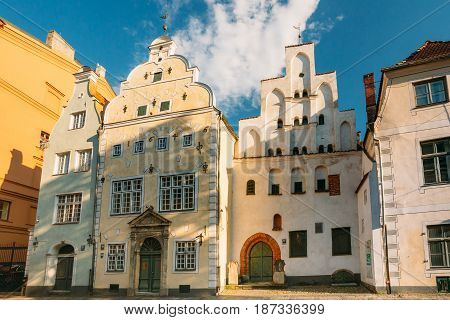 Riga, Latvia. Landmark The Three Brothers Buildings. Old Houses Together Form Oldest Complex Of Dwelling Houses. State Inspection For Heritage Protection And Latvian Museum Of Architecture.