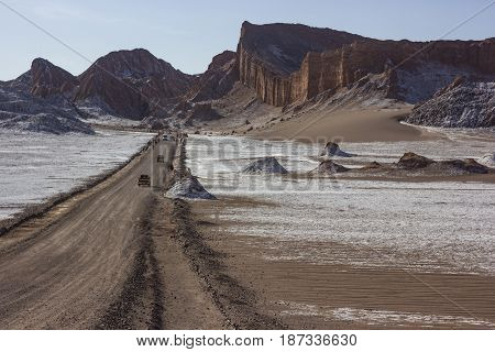salty road with rocks in Moon valley in atakama desert in Chile