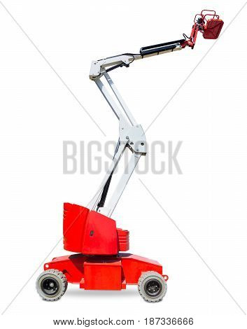 Red wheeled articulated lift with white telescoping boom and red basket on a light background