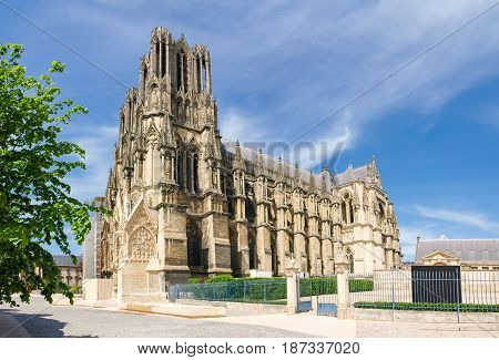 View from southwest of the Cathedral Notre-Dame de Reims built in the 13th century France