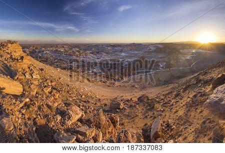 salty road with rocks in Moon valley in atacama desert in Chile