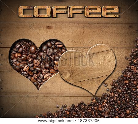 Wooden background with a heart-shaped hole with roasted coffee beans inside and text Coffee