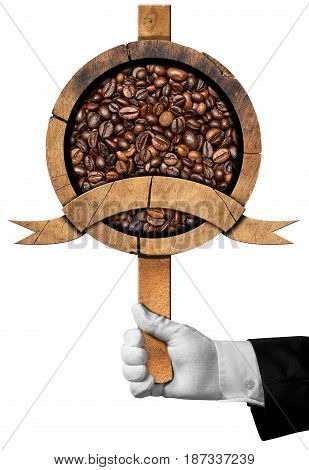 Hand of a waiter holding a wooden sign with roasted coffee beans inside and a copy space. Isolated on white background