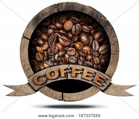 Wooden round symbol or icon with roasted coffee beans inside and text Coffee. Isolated on white background