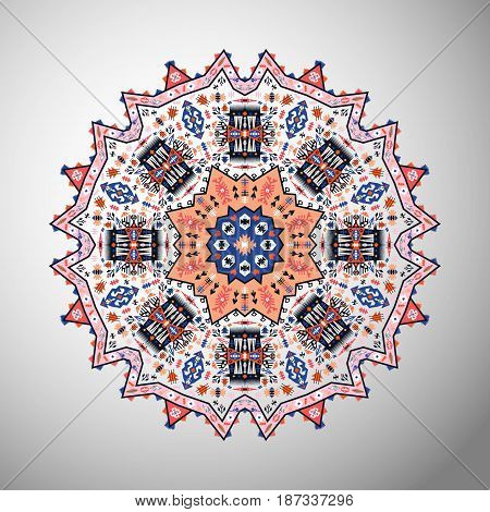 Ornamental round bright geometric pattern in aztec style