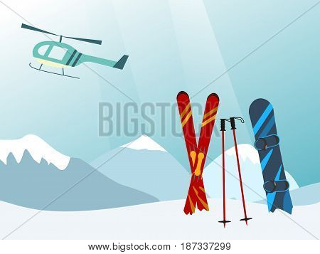Snowboard and Ski in the Ski Mountain Resort helicopter Vector illustration