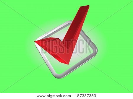 Red check mark on a green background in the sagittal projection