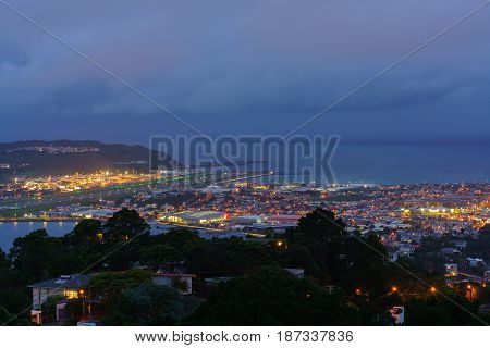 Scenery from Mount Victoria lookout at dusk viewing Wellington Airport's runway in Wellington capital of New Zealand North Island of New Zealand