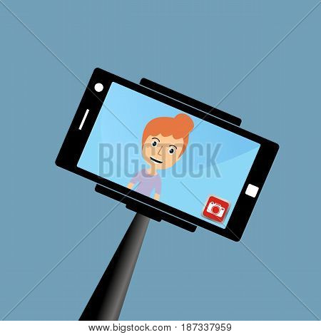Portrait of smiling young woman on smartphone. Selfie stick monopod. Vector illustration.