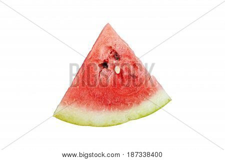 slice of watermelon sliced triangle isolated on white background