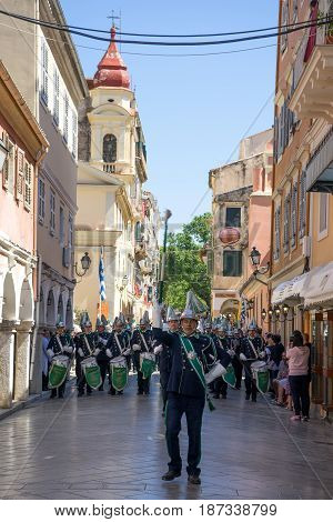 CORFU GREECE - APRIL 30 2016: The procession with the relics of the patron saint of Corfu Saint Spyridon. Epitaph and litany of St. Spyridon.